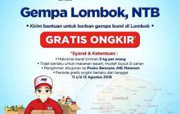 JNE Bantu Kirimkan Bantuan ke Lombok